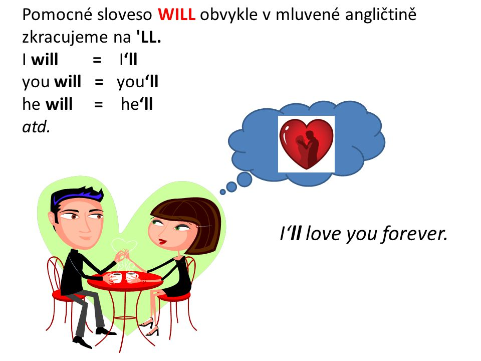 Pomocné sloveso WILL obvykle v mluvené angličtině zkracujeme na LL.