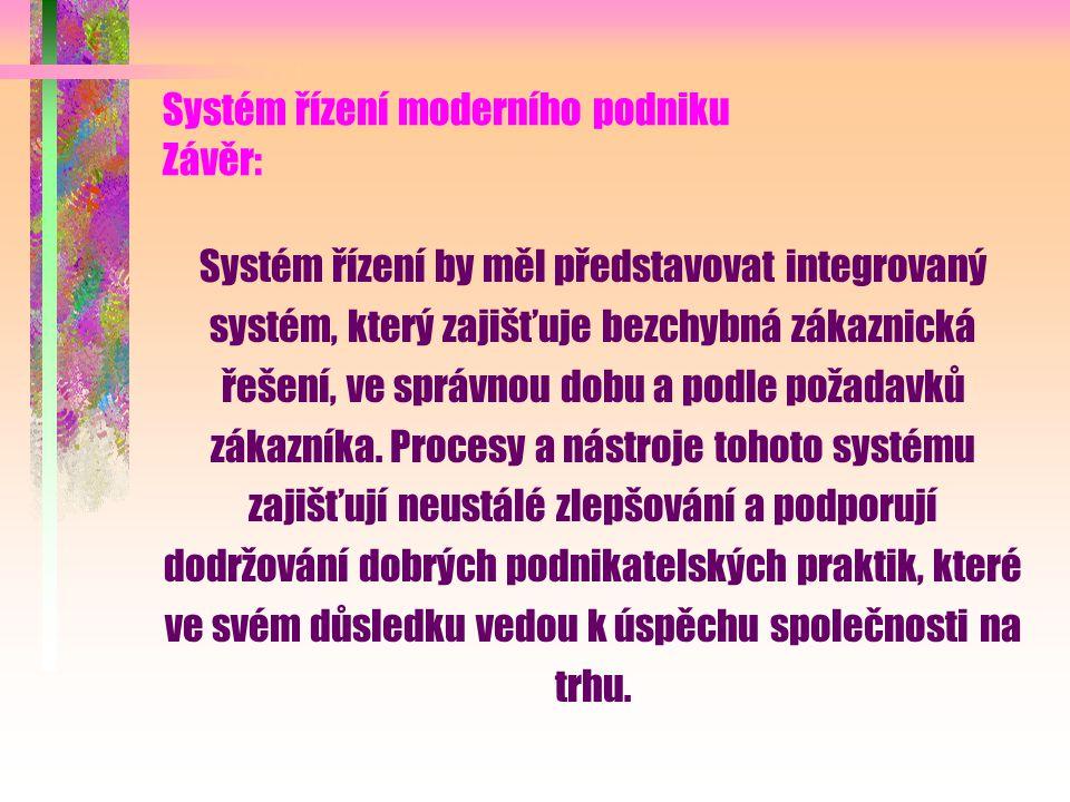 Systém řízení moderního podniku Závěr: