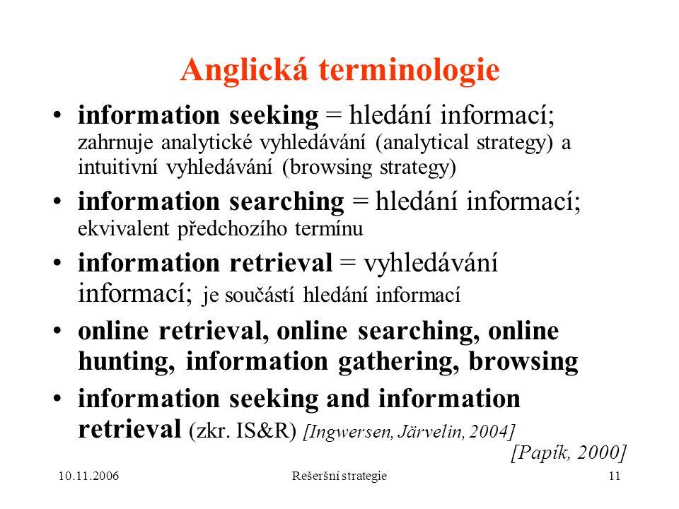 Anglická terminologie