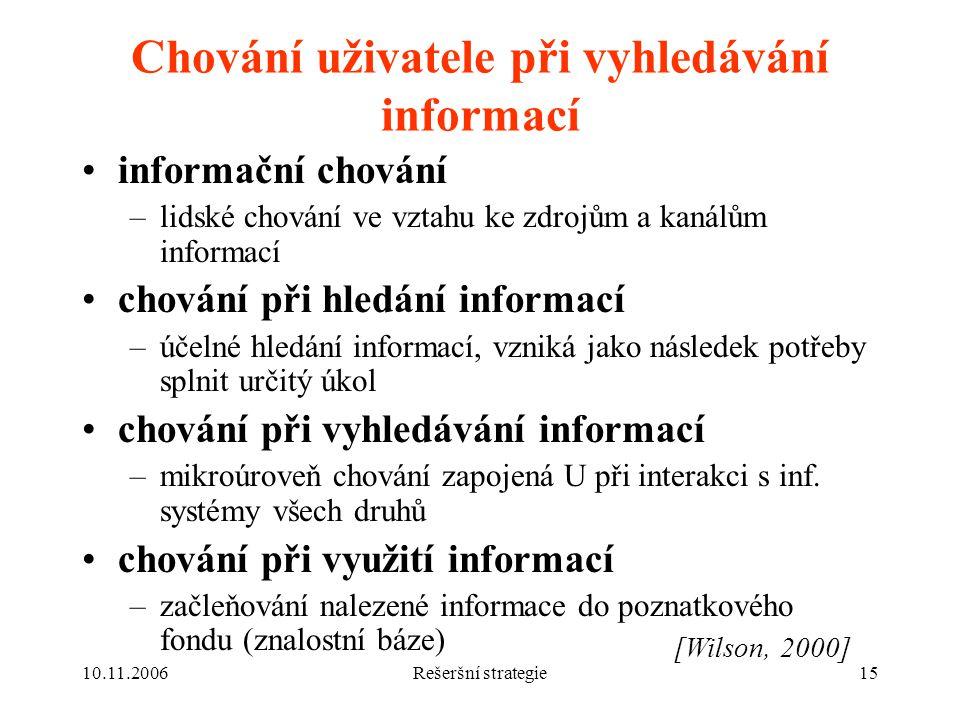 Chování uživatele při vyhledávání informací