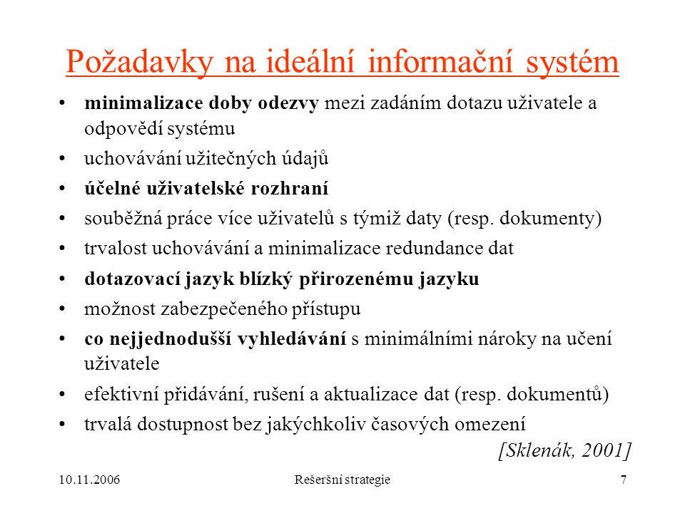 Požadavky na ideální informační systém