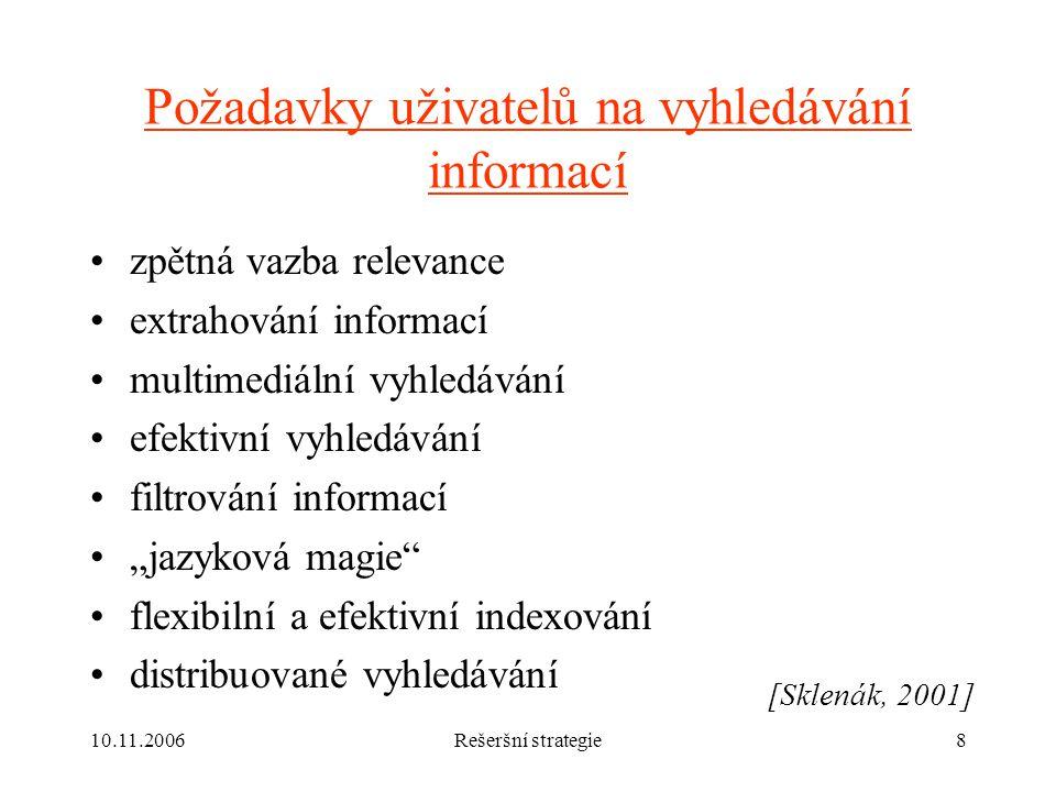 Požadavky uživatelů na vyhledávání informací
