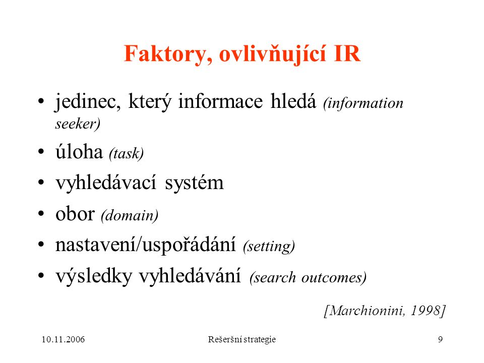 Faktory, ovlivňující IR