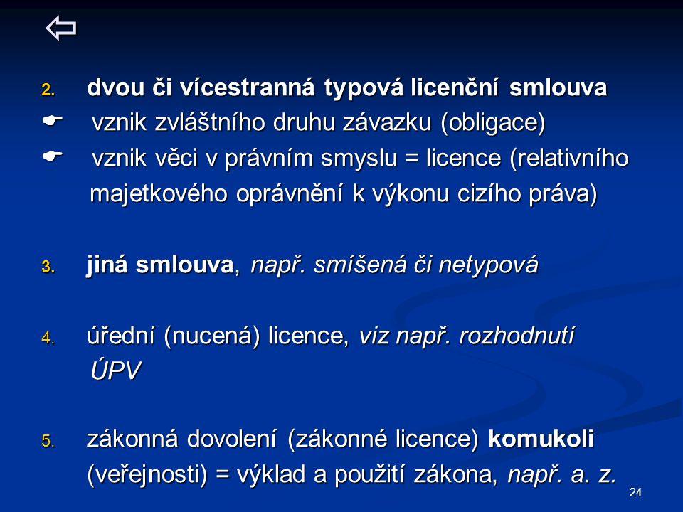  dvou či vícestranná typová licenční smlouva