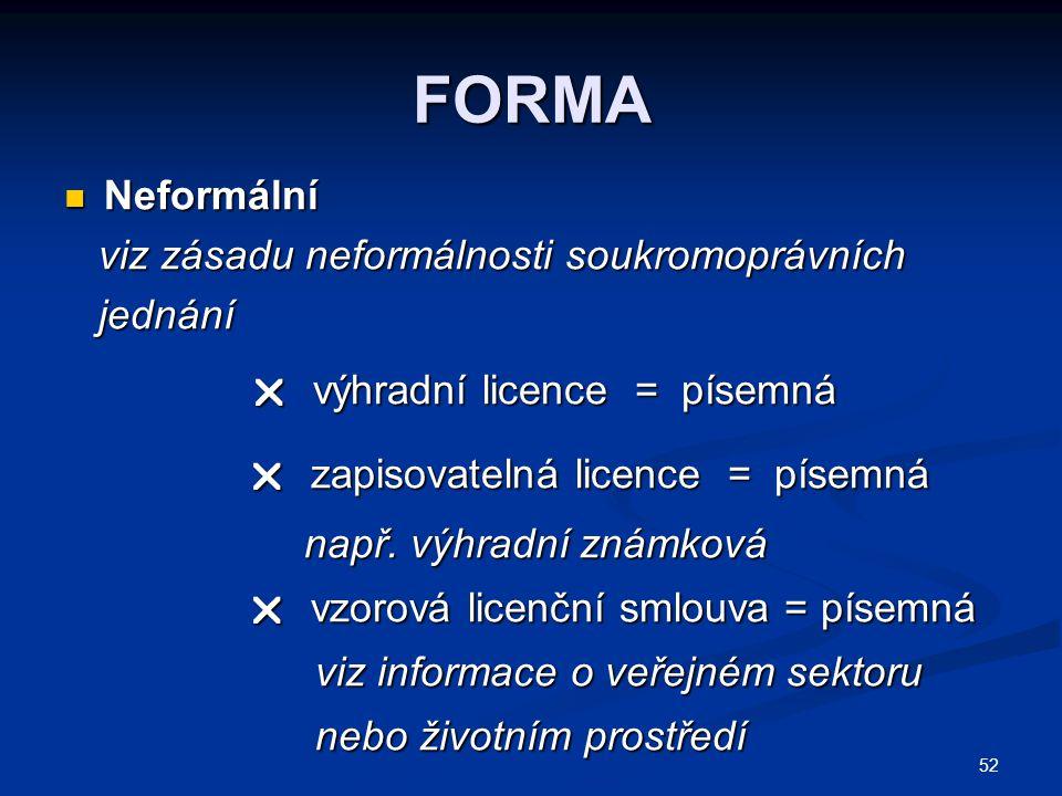  výhradní licence = písemná