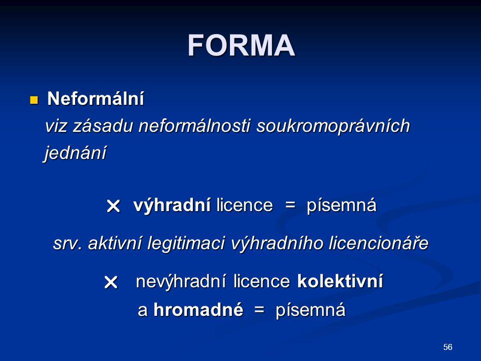 FORMA Neformální viz zásadu neformálnosti soukromoprávních jednání