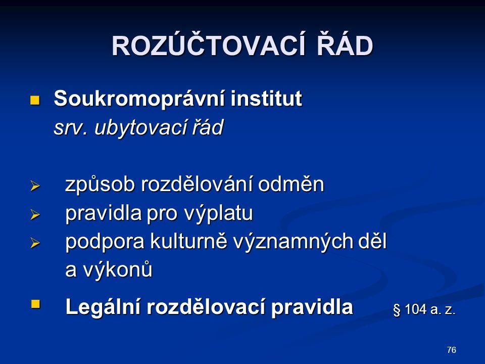 ROZÚČTOVACÍ ŘÁD Soukromoprávní institut srv. ubytovací řád