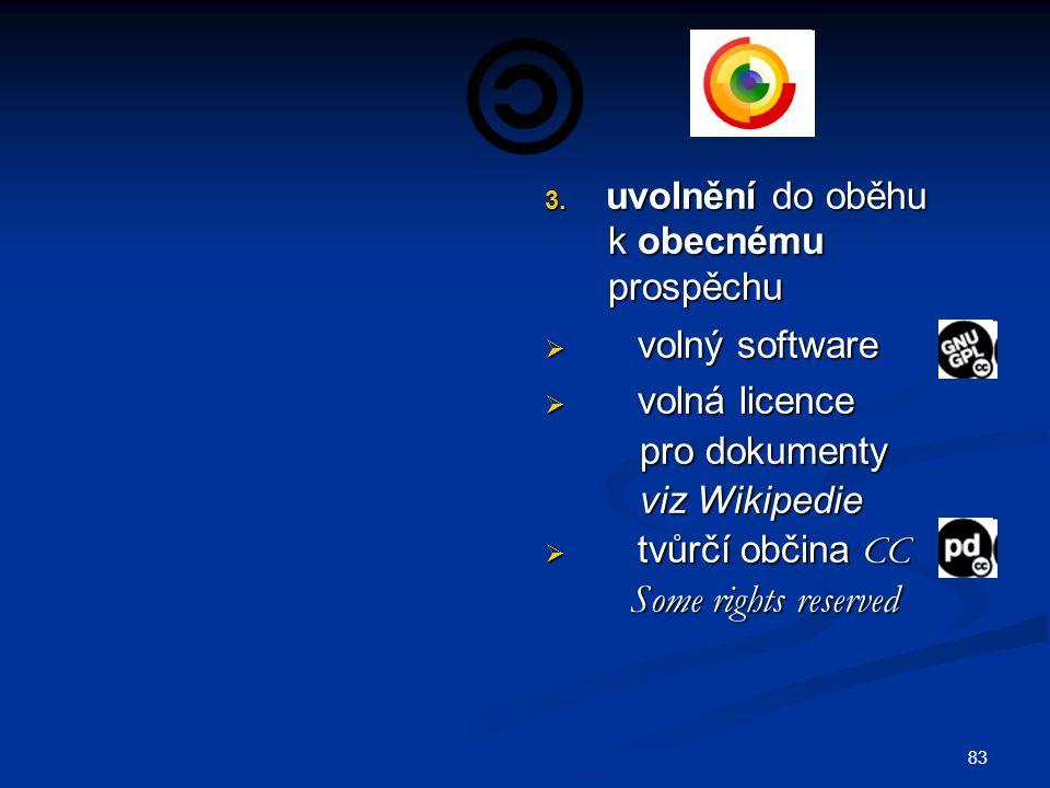 uvolnění do oběhu k obecnému. prospěchu. volný software. volná licence. pro dokumenty. viz Wikipedie.