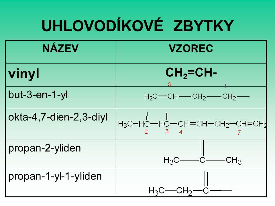 UHLOVODÍKOVÉ ZBYTKY vinyl CH2=CH- NÁZEV VZOREC but-3-en-1-yl