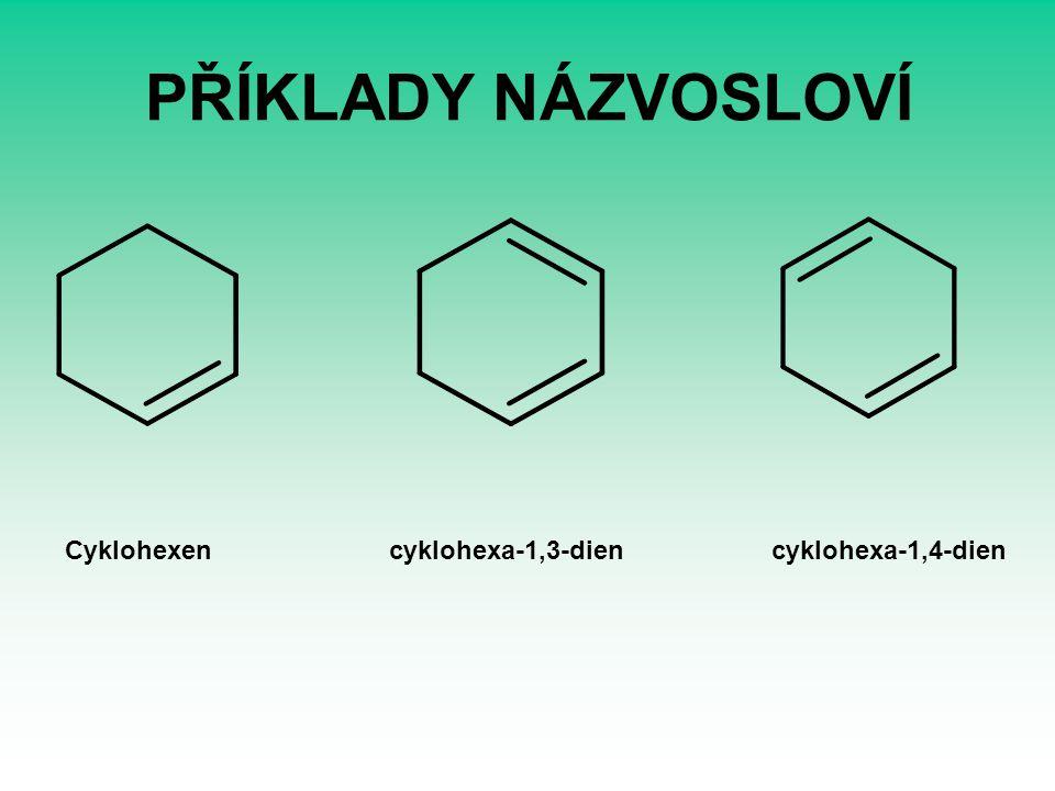PŘÍKLADY NÁZVOSLOVÍ Cyklohexen cyklohexa-1,3-dien cyklohexa-1,4-dien.