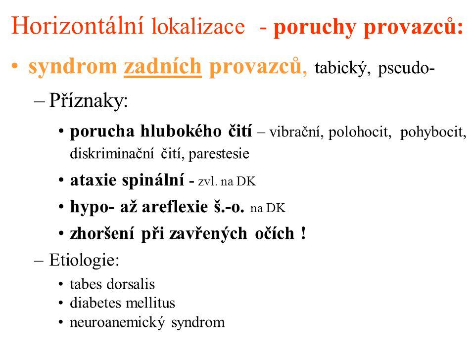 Horizontální lokalizace - poruchy provazců: