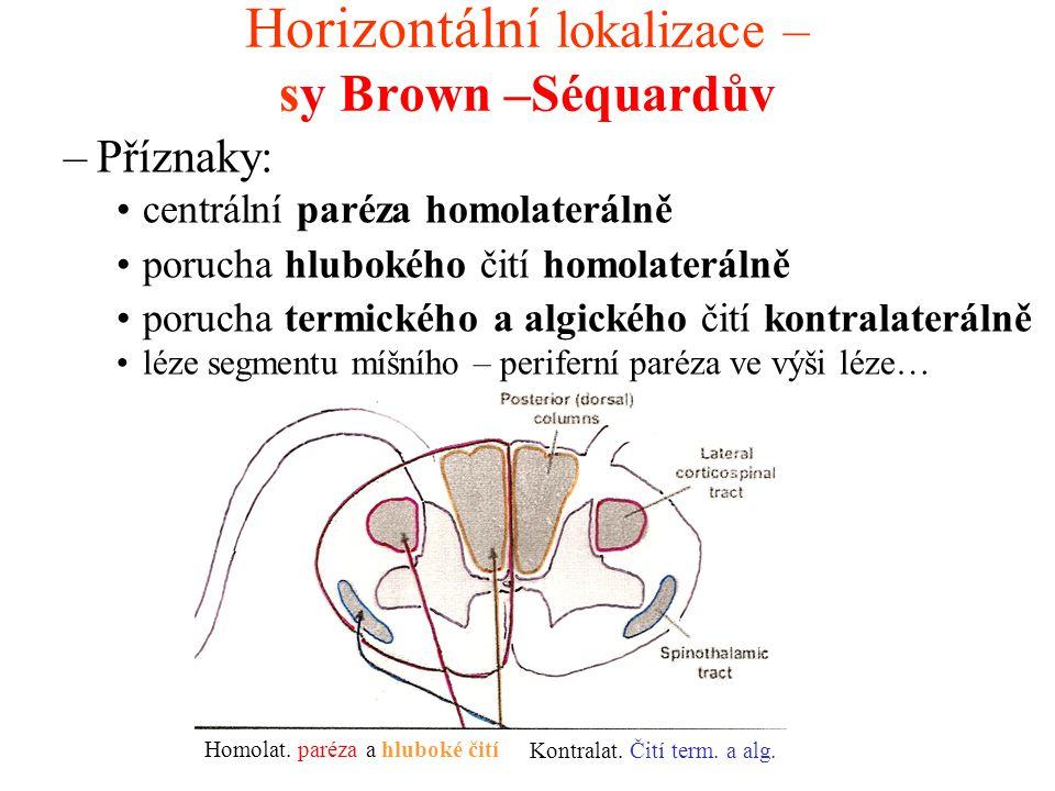 Horizontální lokalizace – sy Brown –Séquardův