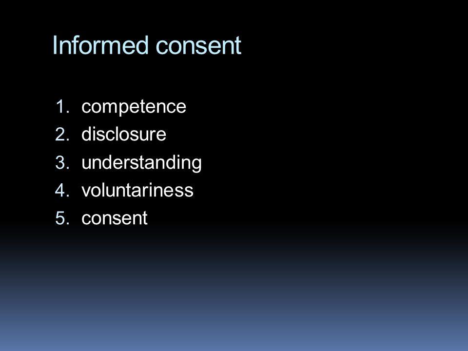 Informed consent competence disclosure understanding voluntariness