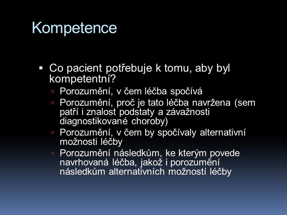 Kompetence Co pacient potřebuje k tomu, aby byl kompetentní