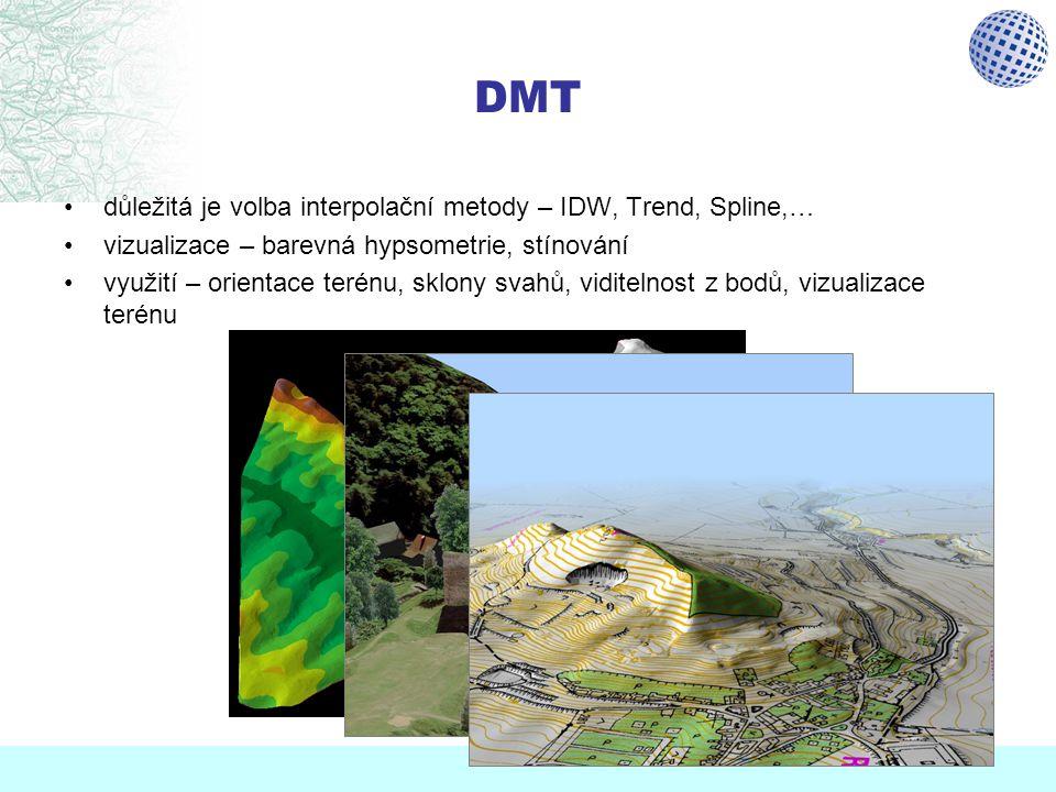 DMT důležitá je volba interpolační metody – IDW, Trend, Spline,…