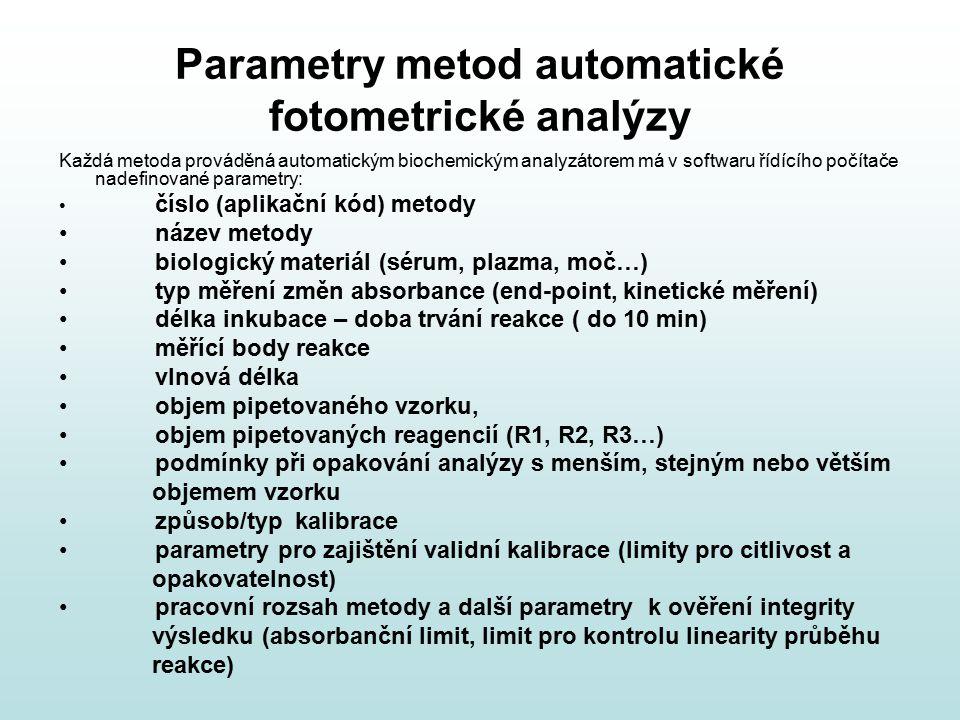 Parametry metod automatické fotometrické analýzy