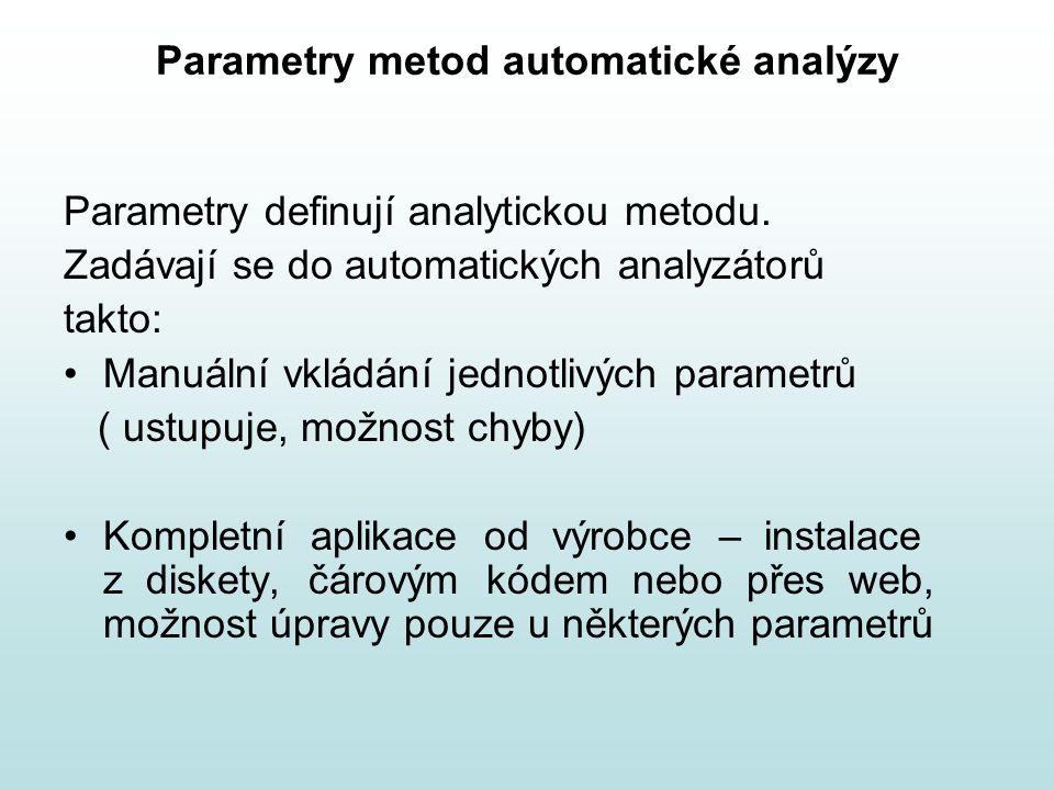 Parametry metod automatické analýzy