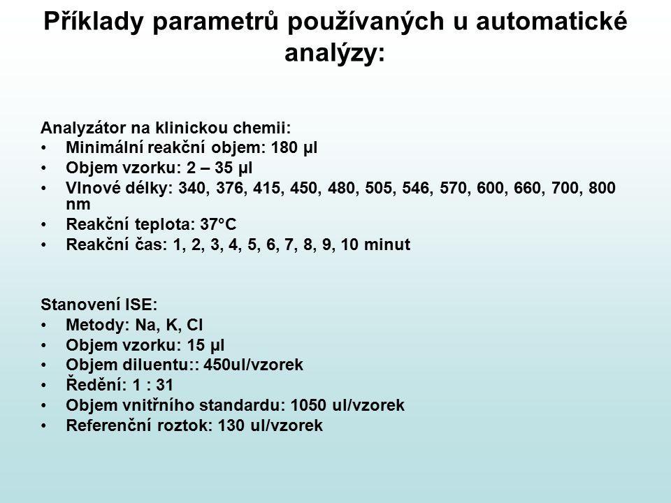 Příklady parametrů používaných u automatické analýzy: