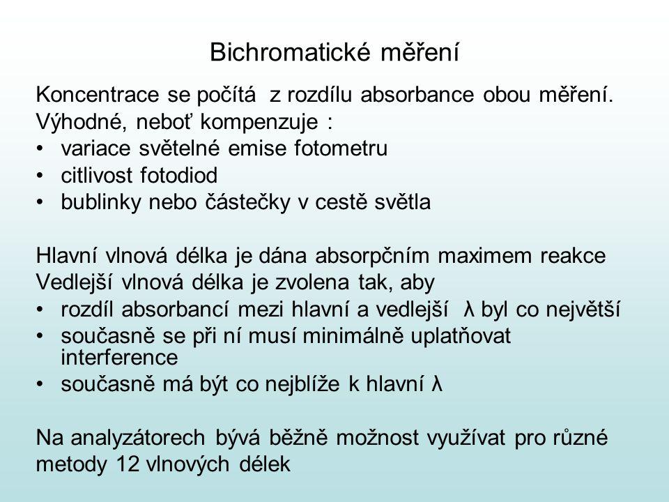 Bichromatické měření Koncentrace se počítá z rozdílu absorbance obou měření. Výhodné, neboť kompenzuje :