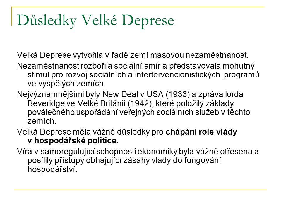 Důsledky Velké Deprese