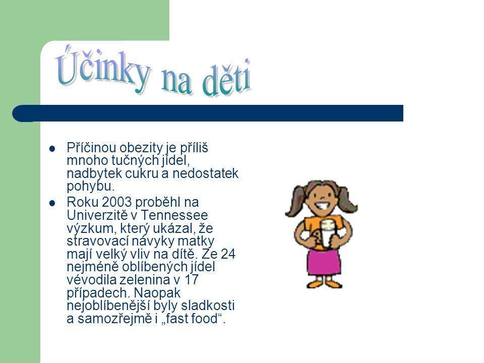 Účinky na děti Příčinou obezity je příliš mnoho tučných jídel, nadbytek cukru a nedostatek pohybu.