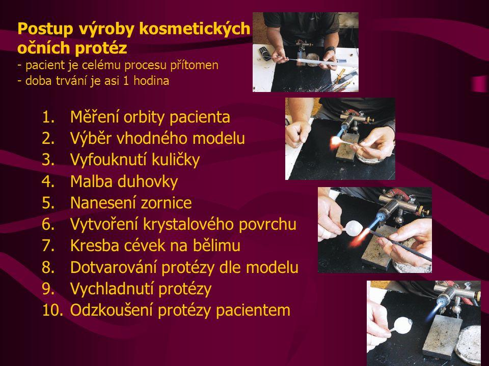Postup výroby kosmetických očních protéz - pacient je celému procesu přítomen - doba trvání je asi 1 hodina