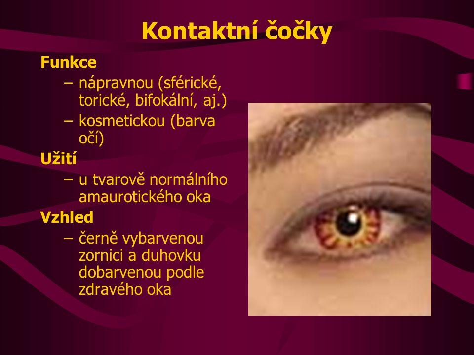 Kontaktní čočky Funkce nápravnou (sférické, torické, bifokální, aj.)