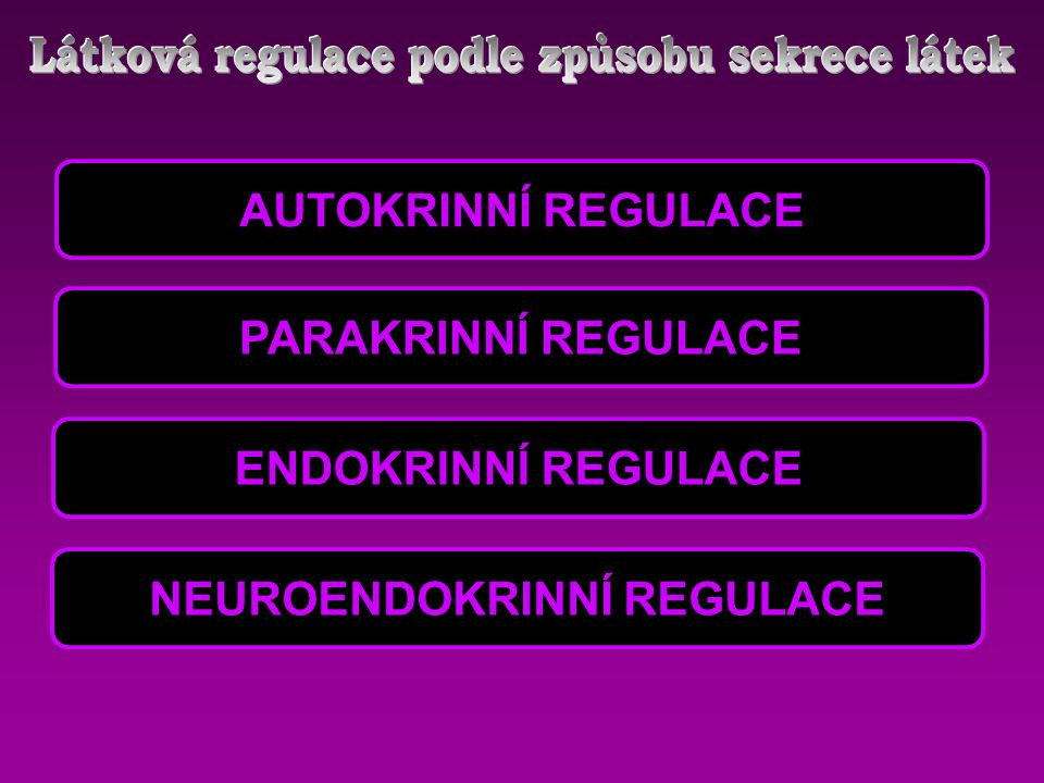 Látková regulace podle způsobu sekrece látek NEUROENDOKRINNÍ REGULACE