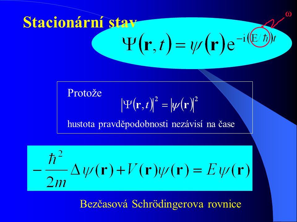 Stacionární stav Protože Bezčasová Schrödingerova rovnice 