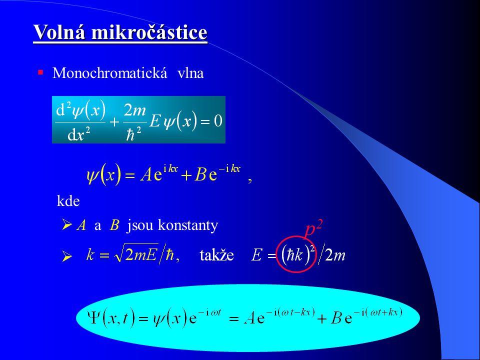Volná mikročástice Monochromatická vlna kde A a B jsou konstanty p2