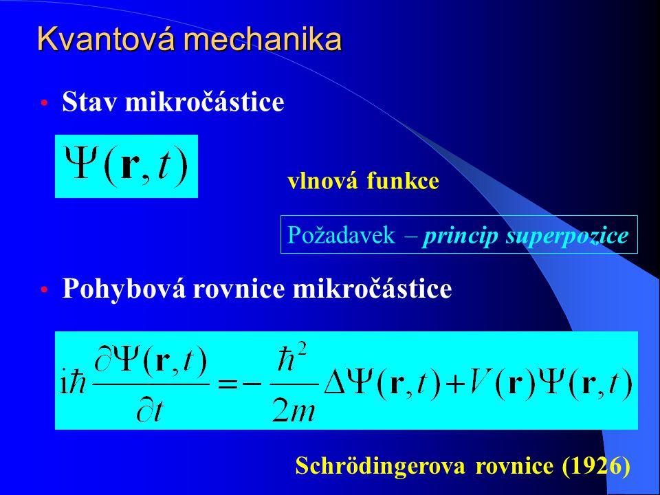 Kvantová mechanika Stav mikročástice vlnová funkce