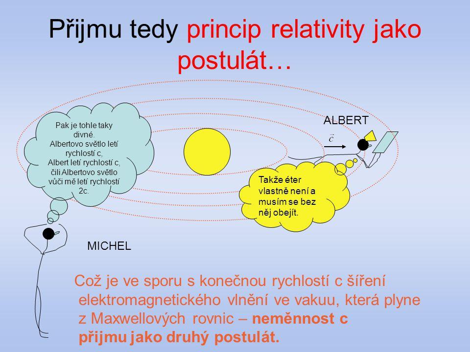 Přijmu tedy princip relativity jako postulát…