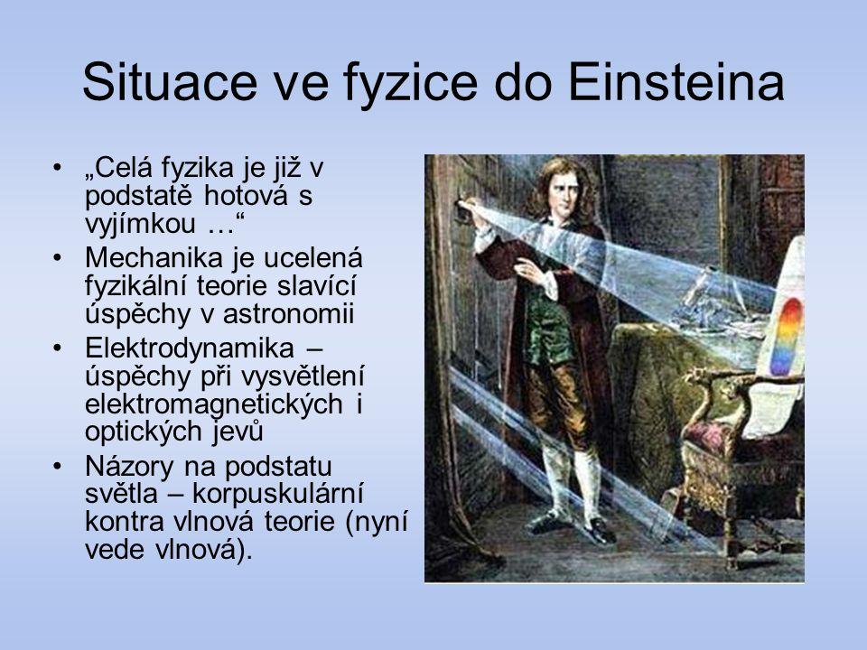 Situace ve fyzice do Einsteina