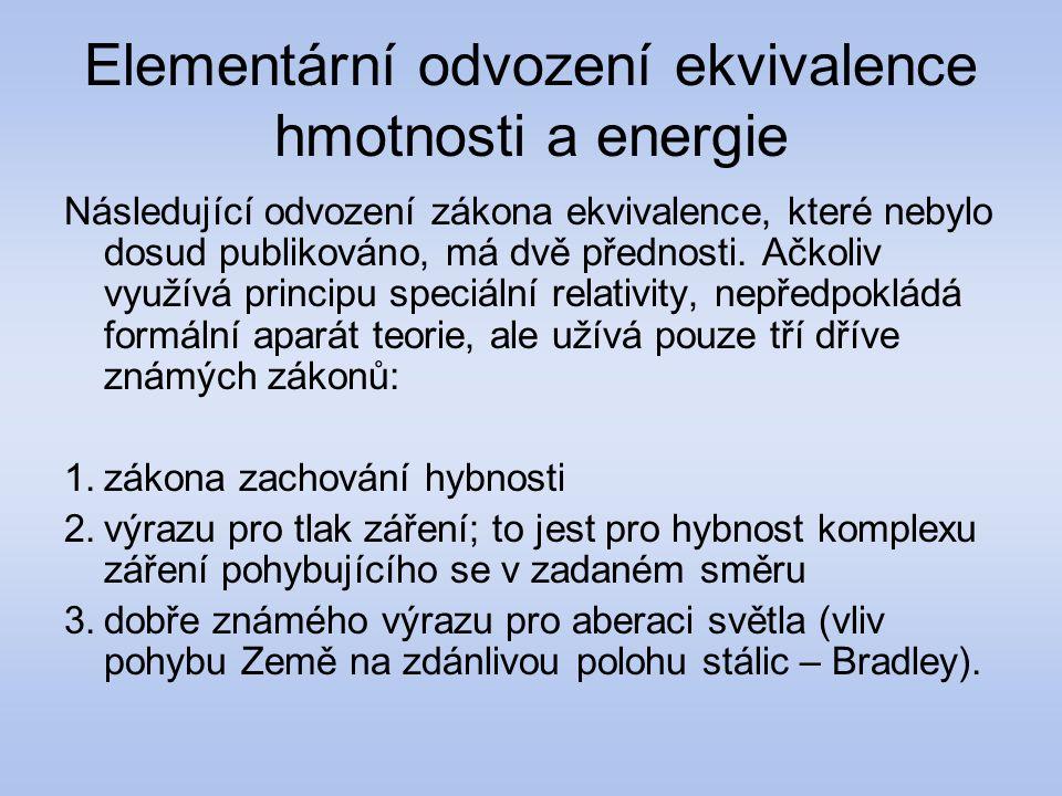 Elementární odvození ekvivalence hmotnosti a energie