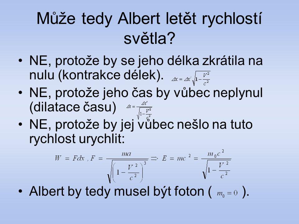 Může tedy Albert letět rychlostí světla