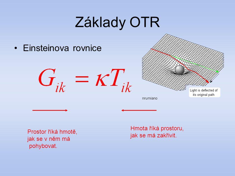 Základy OTR Einsteinova rovnice Hmota říká prostoru,