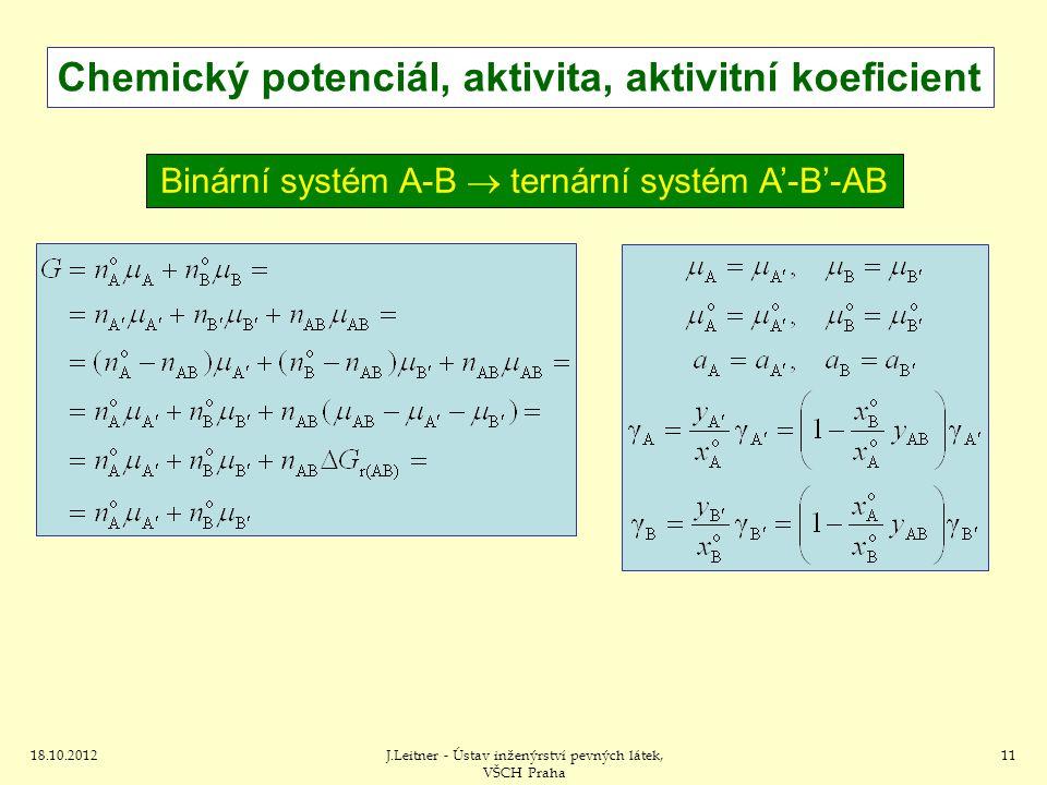 Chemický potenciál, aktivita, aktivitní koeficient