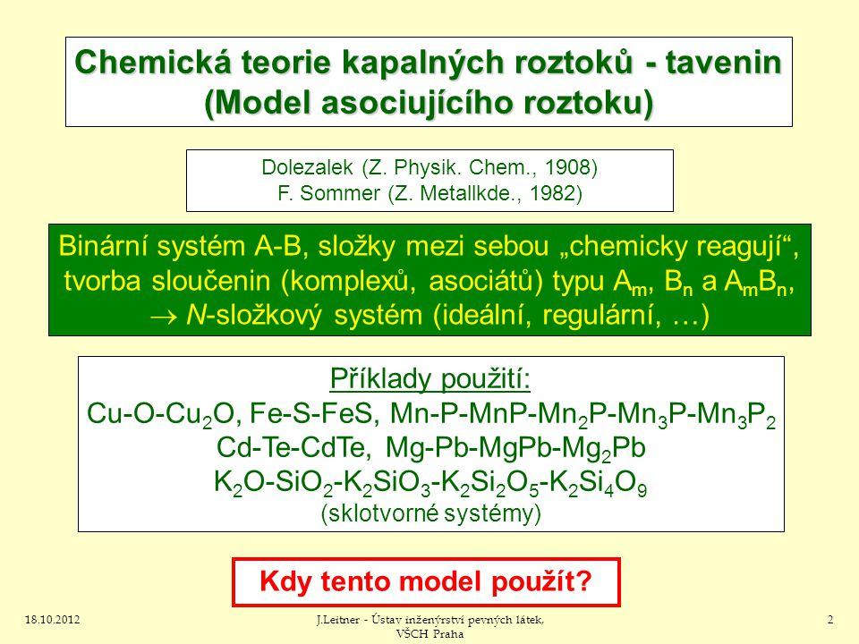 Chemická teorie kapalných roztoků - tavenin