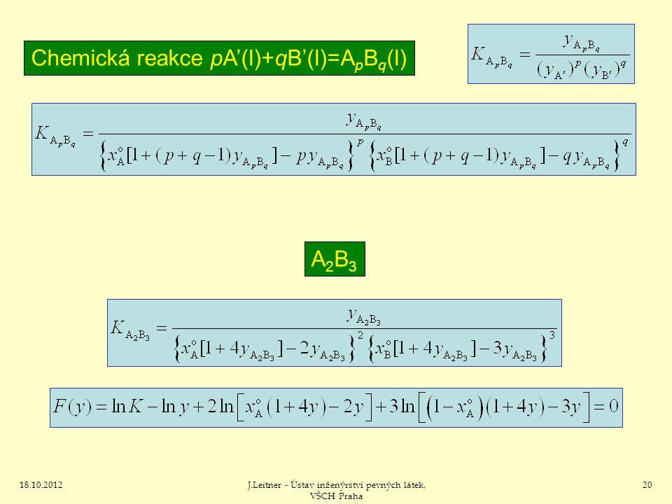 Chemická reakce pA'(l)+qB'(l)=ApBq(l)