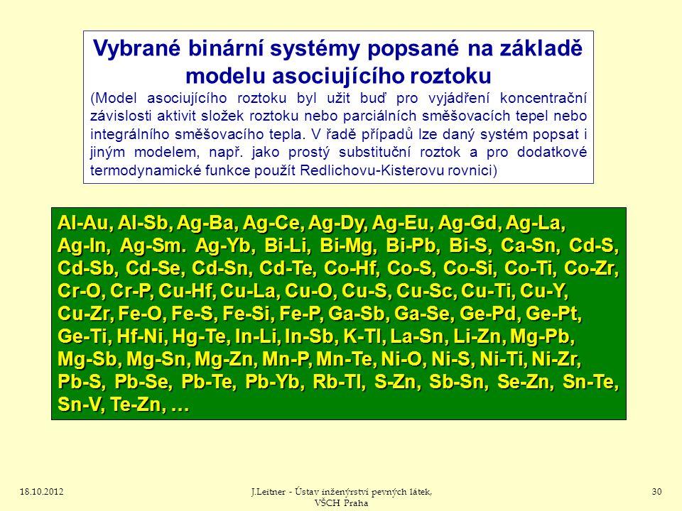 Vybrané binární systémy popsané na základě modelu asociujícího roztoku