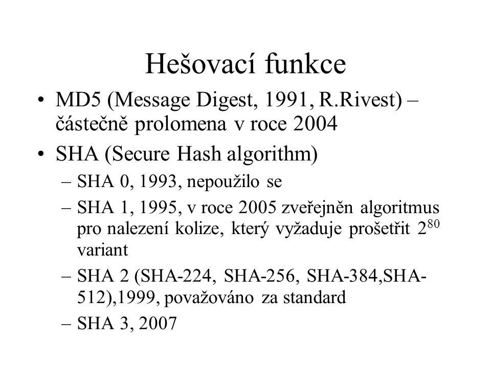 Hešovací funkce MD5 (Message Digest, 1991, R.Rivest) – částečně prolomena v roce 2004. SHA (Secure Hash algorithm)