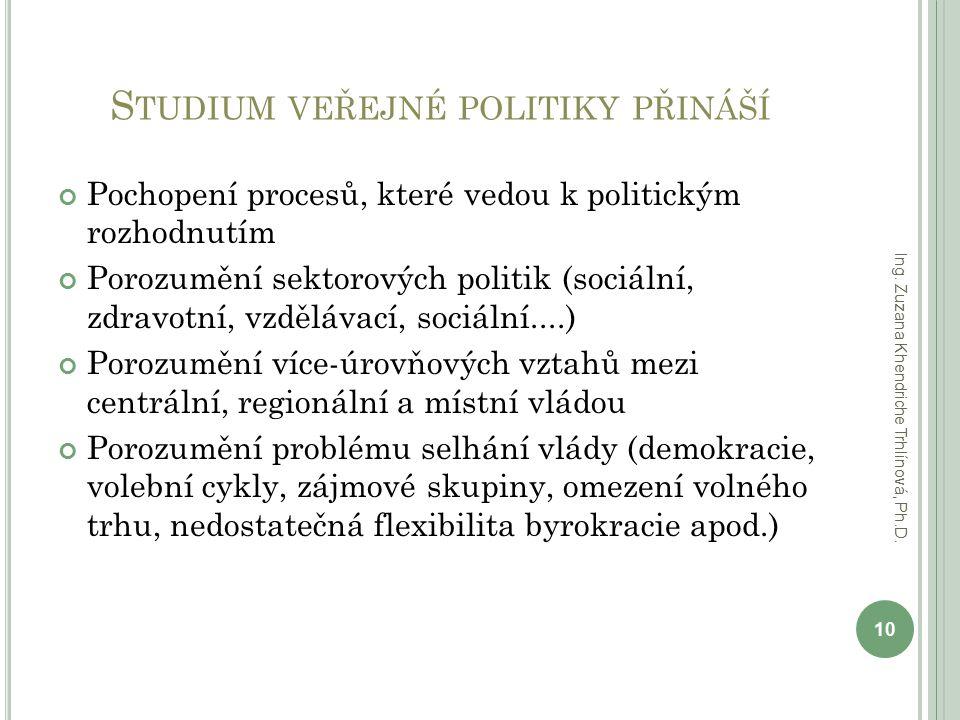 Studium veřejné politiky přináší