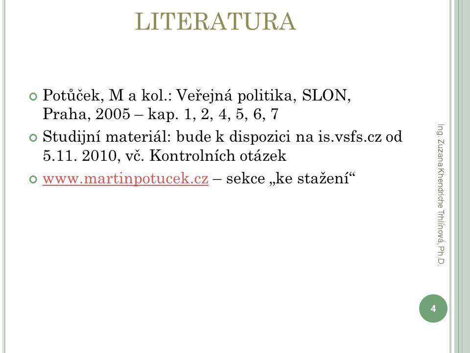 LITERATURA Potůček, M a kol.: Veřejná politika, SLON, Praha, 2005 – kap. 1, 2, 4, 5, 6, 7.