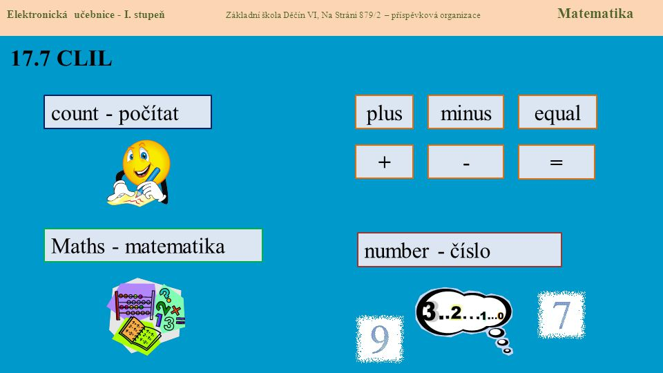 17.7 CLIL count - počítat plus minus equal + - = Maths - matematika