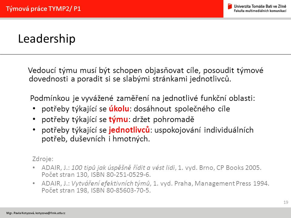 Týmová práce TYMP2/ P1 Leadership.
