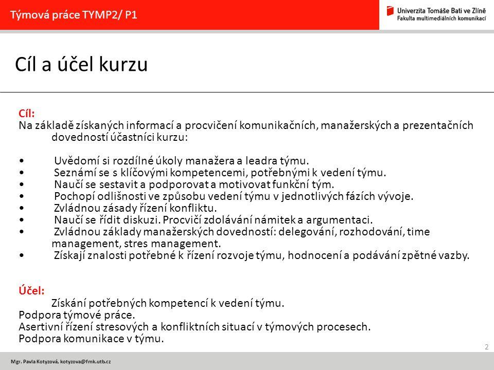 Cíl a účel kurzu Týmová práce TYMP2/ P1 Cíl: