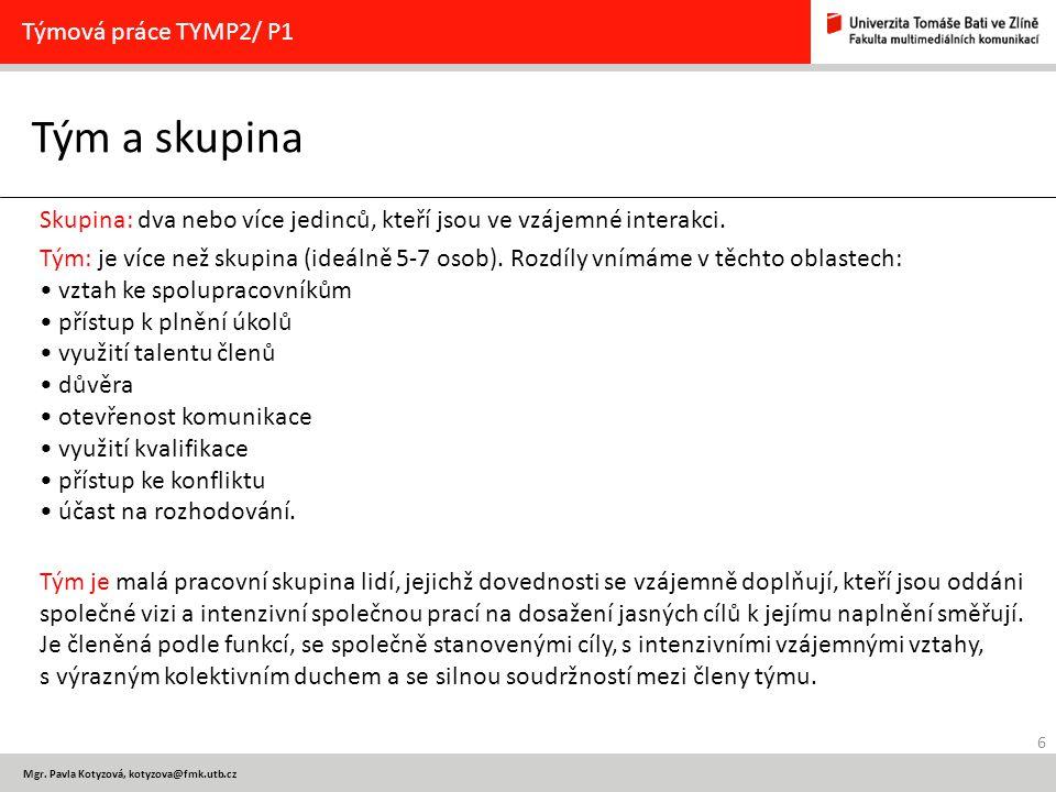 Tým a skupina Týmová práce TYMP2/ P1