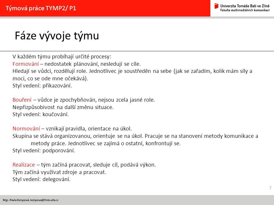 Fáze vývoje týmu Týmová práce TYMP2/ P1
