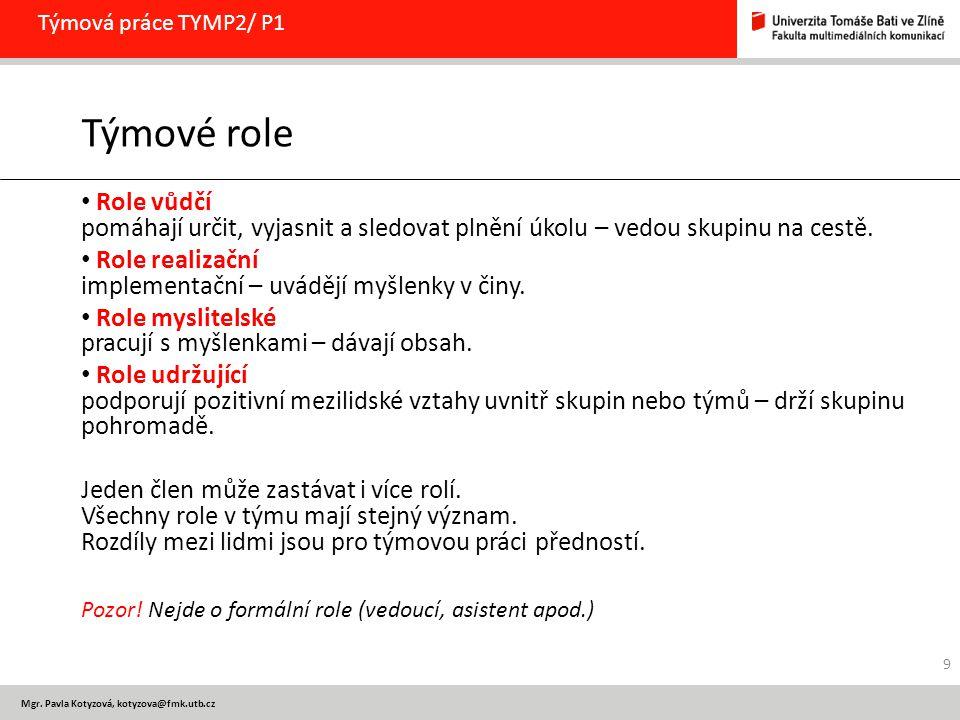 Týmová práce TYMP2/ P1 Týmové role. Role vůdčí pomáhají určit, vyjasnit a sledovat plnění úkolu – vedou skupinu na cestě.