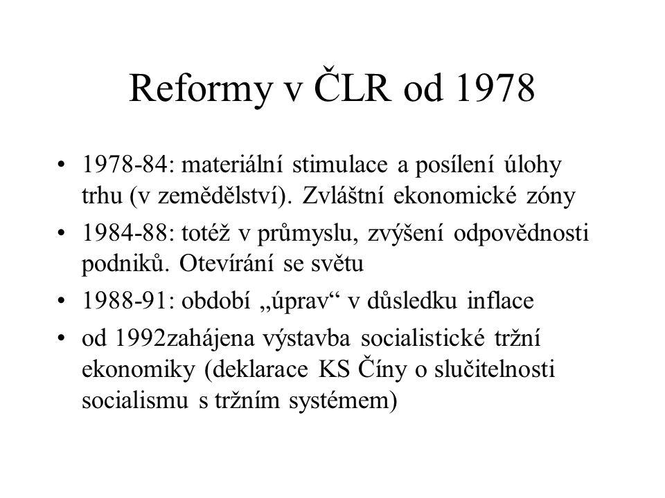 Reformy v ČLR od 1978 1978-84: materiální stimulace a posílení úlohy trhu (v zemědělství). Zvláštní ekonomické zóny.